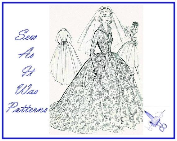 "1950s Unused Women's Wedding Bridal Evening Dresses Full Skirt Vintage Sewing Pattern Fashion Cut Size 14 Bust 34"" 86cm Collar Shaped Bodice"