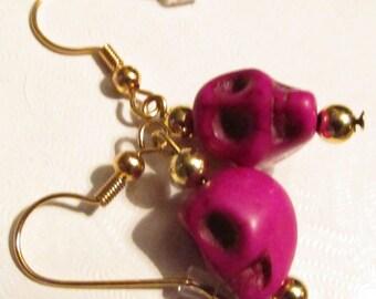 Skull Earrings #Skulls #Magenta #Stone