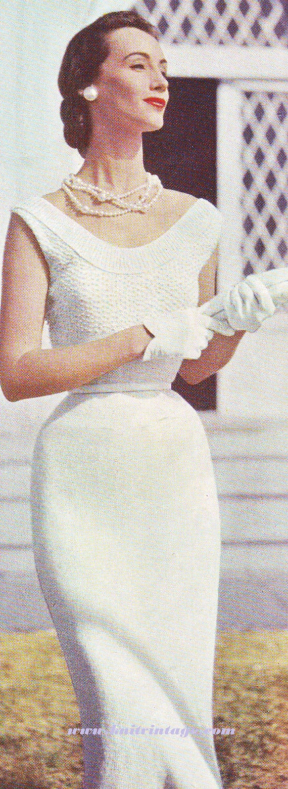Vogue Vintage Knitting Patterns : Vintage Vogue Sheath Dress with Pearls by VintageKnitStore on Etsy