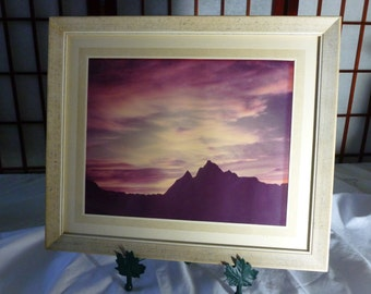 Vintage Set of 4 large 11 x 13 Wood Picture Frames with Glass and Matting, Fine Art Nature Photography from 1940's
