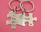 Customizable Puzzle Piece Key Chain Set I Love You I Know Heart Charms with Initials Hand Stamped Personalized His and Hers Set