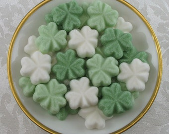 30 Green & White Shamrock shaped sugar cubes for St. Patrick's Day, tea party, shower, coffee, tea, party favor, Irish, hostess gift