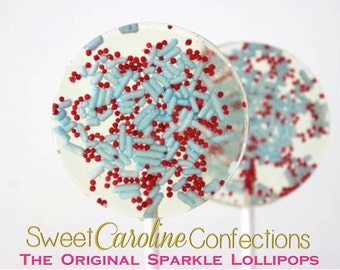 Christmas Lollipops, Blue and Red Favors, Wedding Favors, Lollipops, Candy Lollipops, Holiday Favors, Powder Blue and Red-Set of Six