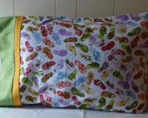 Pillowcase  FlipFlops ManyColors  SummerFun GreatGift  Standard Size 20x30 PremiumQuality 100 percentCotton