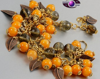"Smoky Quartz Onyx  ""Autumn Passion"" (Necklace  Bracelet  Transformer)"