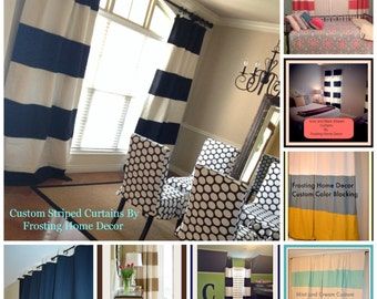 Custom Black And Cream Striped Curtains By Frostinghomedecor