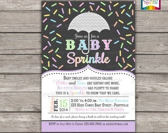 Baby Sprinkle - Pastel Rainbow - Gender Neutral Personalized Baby Shower Invite - Digital Printable Invitation 4x6 or 5x7 jpg or pdf