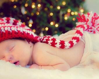 Crochet elf hat/ baby hat/striped hat with pom pom/ photo prop