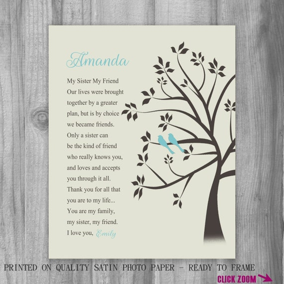 Birthday Gift for SISTER Turquoise Birds Print Tree Sister Gift ...
