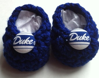 Duke Blue Devils baby booties, baby booties, infant shoes, crochet baby booties, booties for baby, crochet baby shoes