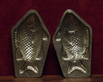 Antique two part chocolate mold of a swimming fish