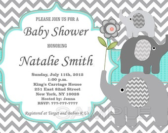 Baby Shower Invitation Gender Neutral Elephant Baby Shower Invitation Baby Shower Invites (01a) - Free Thank You Card / Instant Download