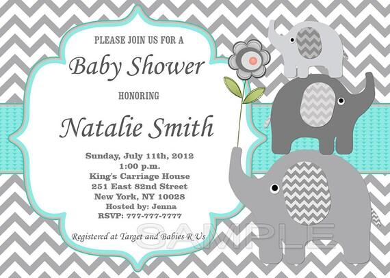 Invitaciones Baby Shower Elefante ~ Baby shower invitation gender neutral elephant