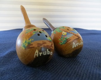Pair of Kitschy Vintage Teak Morrocca Salt and Pepper Shakers