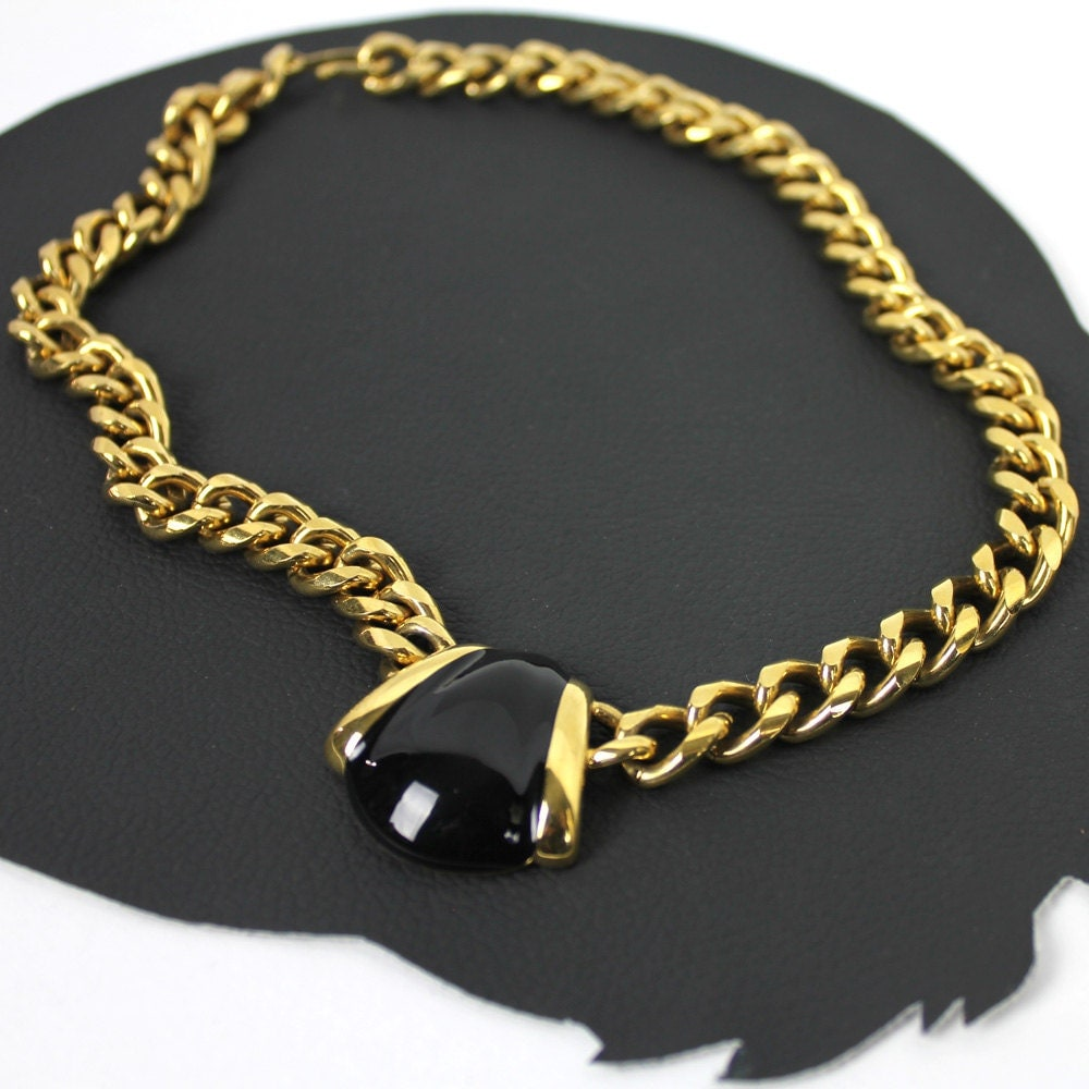 black and gold colored chunky necklace