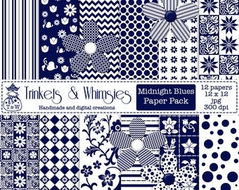Midnight Blues Digital Paper Pack - Instant Download