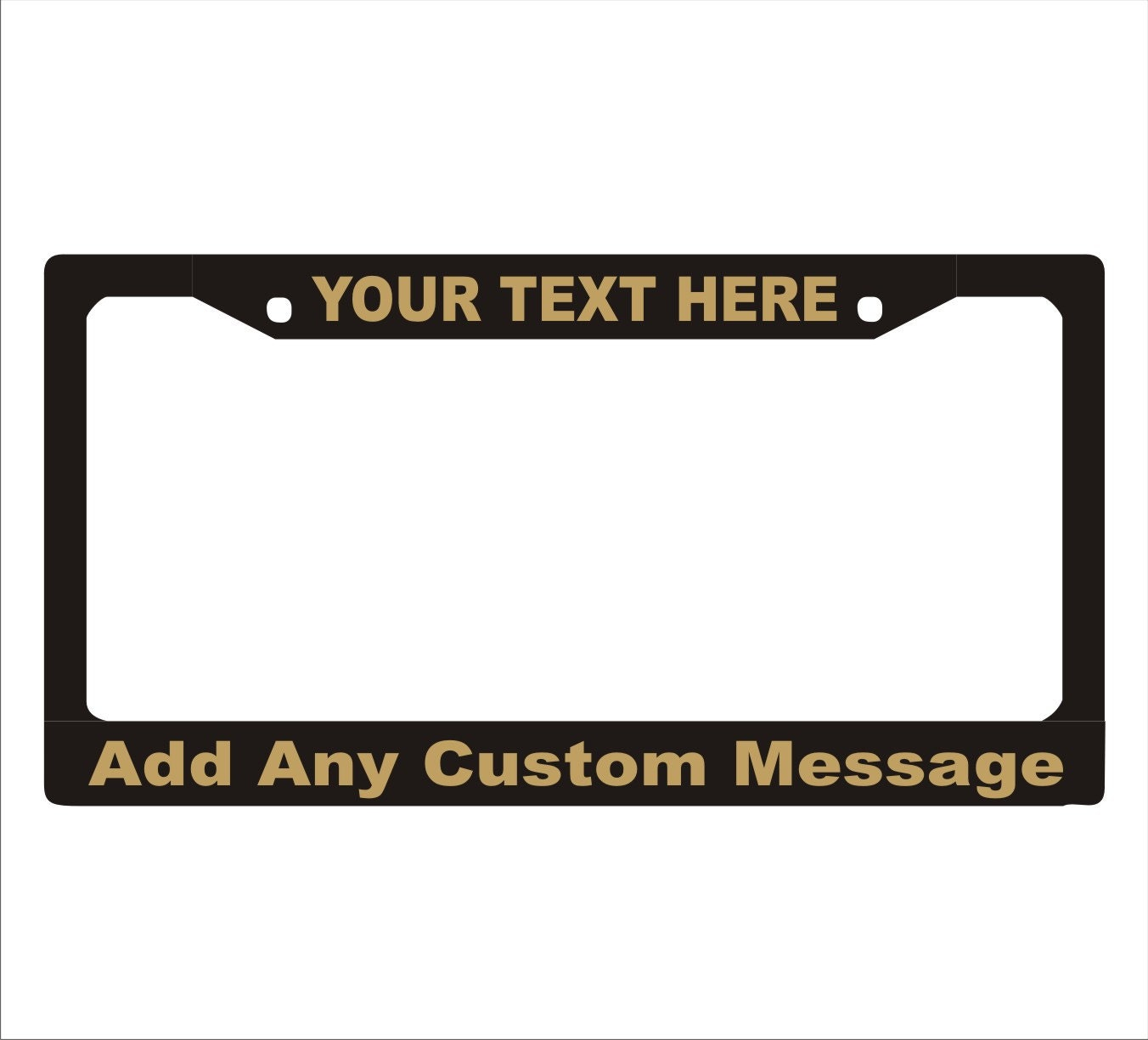 Metallic gold letters custom personalized license plate frame for Custom license plate letters