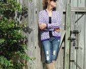 Vintage 60s Sweater Cardigan Delicate Hand Knit Purple Chevron Crochet Sweater Cardi Jumper Top - Made in Japan - Mod Design - Size M / L