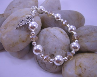 Colored Crystal & Silver Ball Bracelets - Champagne