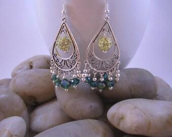 Elegant Chandelier Earrings - Teal & Gold