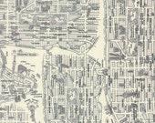 LAST 34 INCHES Moda Passport New York City Map in Black and White Fabric