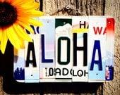 Recycled. License Plate. Ohana. Livealoha. Beachdecor. Hawaiian islands. Rainbow.Family name. door hanging. Hawaii. Maui. Beach. Love. Aloha