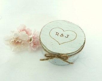 Ring Box, Wedding Ring Pillow Alternative, Wedding Ring Box, Shabby Chic Rustic Ring Box, Engraved Initials and Heart Ring Bearer Pillow Box