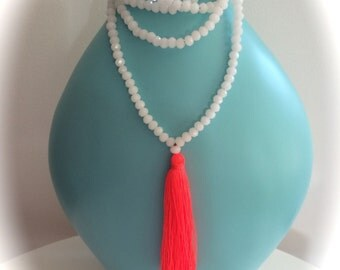 White Crystal Bead Necklace >  Fluro Orange Long  Tassel >New Design from Cinta Kamu Exciting summer Boho fun>Festival>Beach>cool> accessory