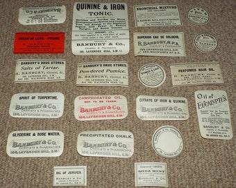 20 x Antique Pharmacy Chemist Labels c1900 - Clapham Junction