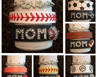 Rhinestone Black Leather Sports MOM Bracelets Stack (Set of three) LOVE stretch Baseball Softball Basketball Football Soccer Volleyball