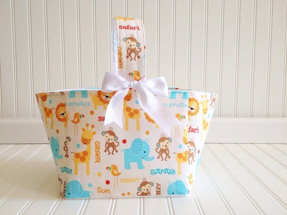 Jungle themed baby gifts : Safari jungle theme baby gift basket diaper caddy by
