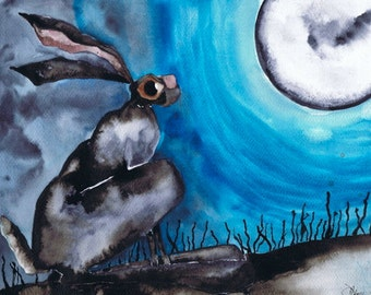 MOONGAZING HARE h1742 - Beautiful Hare -  Size A4 - printed on extremely good quality textured paper