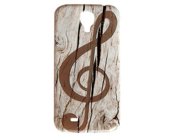 Treble Clef Musical Note Wooden Design for Samsung S4 Galaxy Case S5 Music Brown Cover Wood Decorate Hard Plastic Simple Print Quality c108