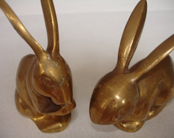 Vintage Set of Brass Rabbit / Bunny 2 TOTAL ~ Nicely Aged! ~ Figurine / Paperweight