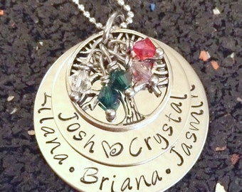 Handstamped Personalized Family Tree Stainless Steel Necklace