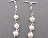 Sterling Silver and Iridescent White Pearl Gauged Ear Threader Dangles