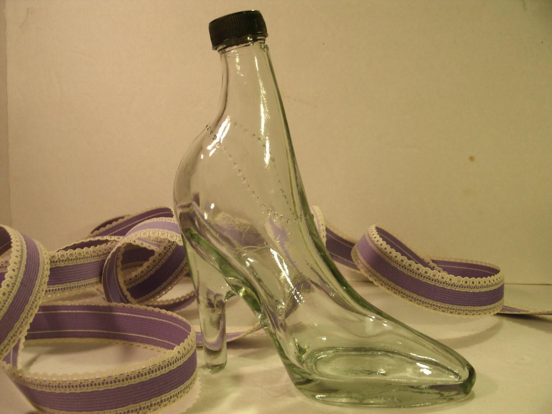 Glass Shoe Bottle Vintage High Heel