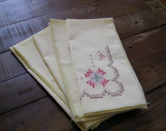 Four Yellow Cross Stitch Napkins