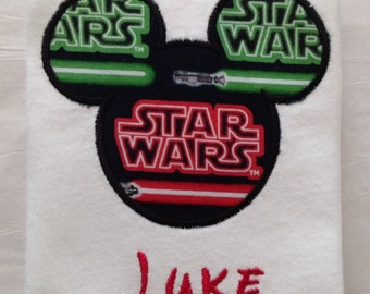 Disney Star Wars Mickey Mouse Shirt for Boys, Kids, Vacation, Light Saber Fabric, Disney Font, Trip, Party, Children, Family, Baby