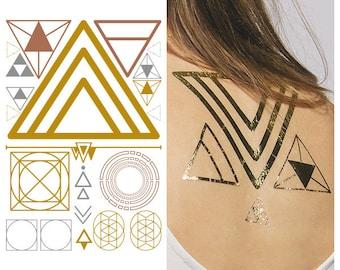 Metallic Gold Triangle Temporary Tattoo - Shape Shifter  -  1 x A5 Sheet