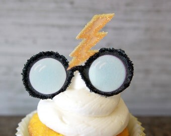 12 EDIBLE  Harry Potter glasses-Lightning Scar-Hogwarts- party cupcake toppers