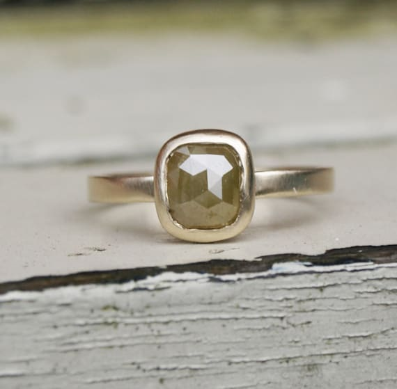 Rustic Diamond: Rose Cut Diamond Ring Set Rustic Diamond By Karenjohnsondesign