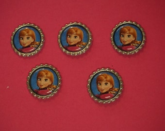 Disney Frozen Anna Finished Flattened Bottle Caps A5