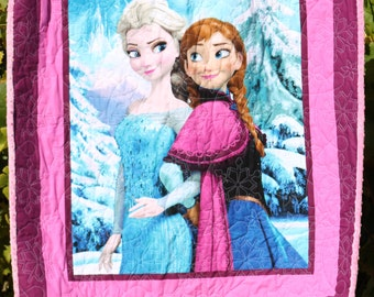 Disney Frozen Anna and Elsa with Pink Minky Backing and Long Arm Quilted Handmade Toddler Quilt