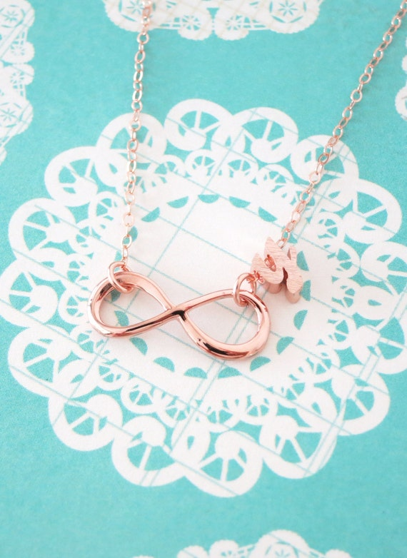 Personalised Infinity Necklace - 14K Rose Gold FILLED Chain, simple rose gold infinity charm, forever love, best friend, sister, bridesmaid