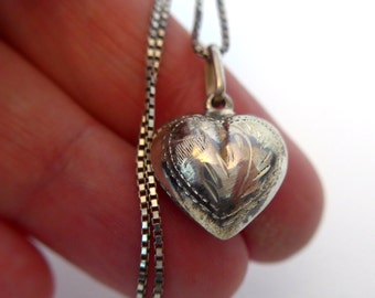 Sterling Silver Necklace - Vintage Etched Puffy Heart Shape Pendant on Sterling 926 Box Link Chain