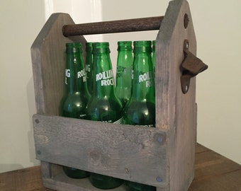 Wooden Beer Caddy #2 - Grey Stain