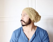 Slouch Beanie Hat, dread cap,ready to ship men accessory- neutral color, beige tan -soft textured warm Knit- Ecofriendly guy gift