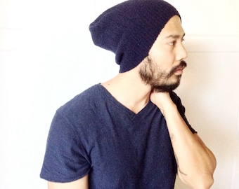 Slouch beanie hat, Men's Winter clothes -warm dark blue ribbed soft wool material- up cycled, unique fashion, guy gift, handmade ecofriendly