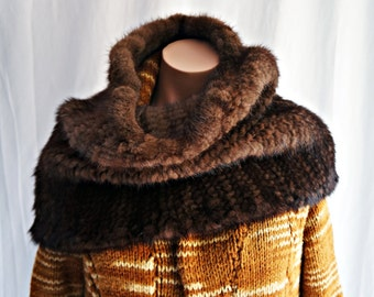 Sale Hand Knitted Mink Infinity Cowl/Natural brown/Very Dark Brown Neck Warmer / Luxury Accessory